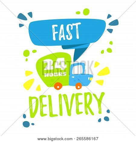 Free Shipping. Delivery Concept. Cartoon Truck Delivers Goods. Online Orders And Fast Delivery. Vect