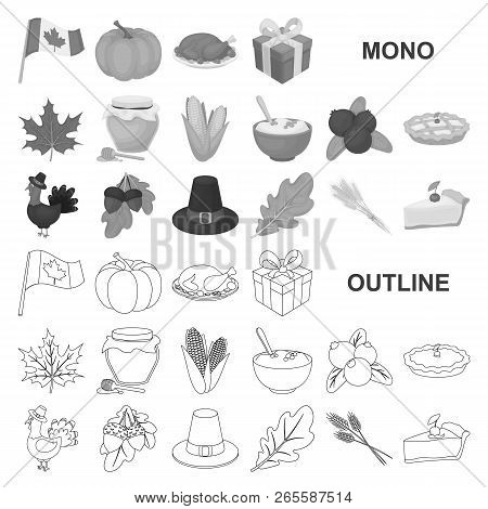 Canada Thanksgiving Day Monochrom Icons In Set Collection For Design. Canada And Tradition Vector Sy