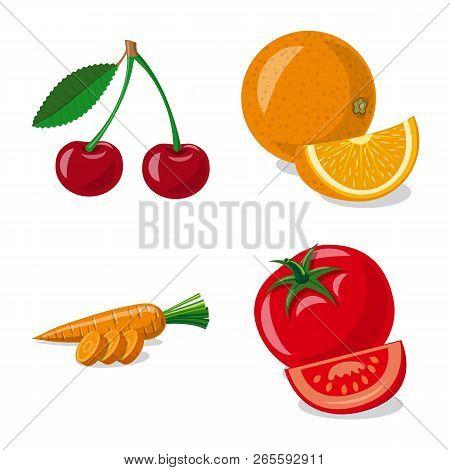 Vector Design Of Vegetable And Fruit Logo. Set Of Vegetable And Vegetarian Stock Symbol For Web.