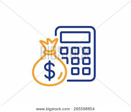 Calculator With Money Bag Line Icon. Accounting Sign. Calculate Finance Symbol. Colorful Outline Con