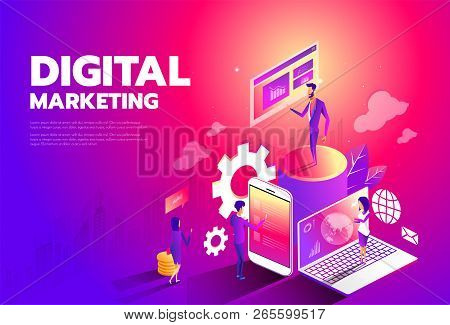 Isometric Style Design - Content Marketing Strategy, Digital Marketing, Content Sharing Flat Vector