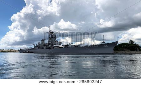 Battleship Missouri Memorial At Pearl Harbor In Hawaii, Usa
