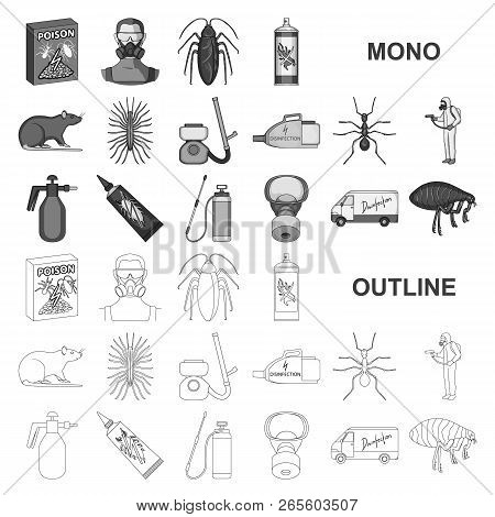Pest, Poison, Personnel And Equipment Monochrom Icons In Set Collection For Design. Pest Control Ser