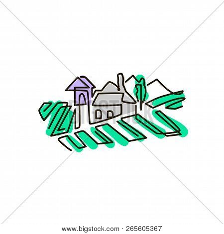 Vector Line Icon. Vineyard Landscape. One Line Drawing. Isolated On White Background. Continuous Sin