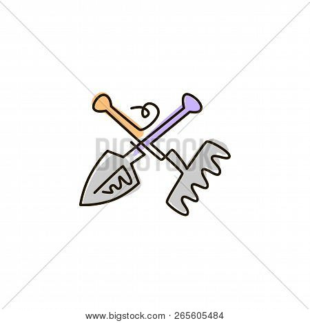 Vector Line Icon. Rake And Shovel Garden Tools. One Line Drawing. Isolated On White Background. Cont