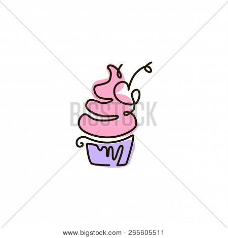 Vector Line Icon. Cupcake. One Line Drawing. Isolated On White Background. Continuous Single One Dra