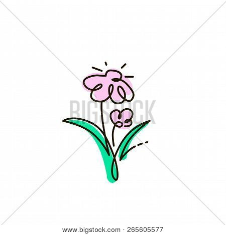 Vector Line Icon. Two Flowers. Gardening. One Line Drawing. Isolated On White Background. Continuous