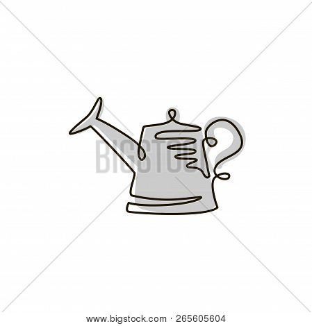 Vector Line Icon. Watering Can Garden Tool. One Line Drawing. Isolated On White Background. Continuo