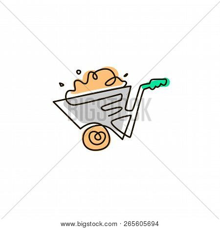 Vector Line Icon. Wheelbarrow Full Of Dirt. Gardening. One Line Drawing. Isolated On White Backgroun