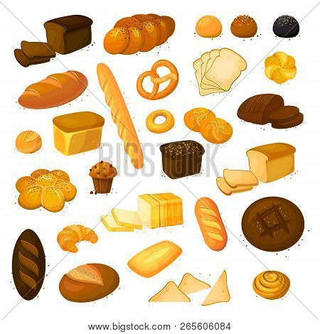 Set Vector Bread Icons. Vector Illustration Isolated On A White Background. Bakery Product In Cartoo