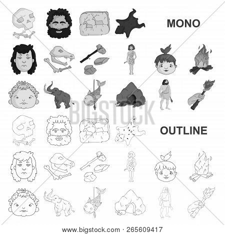 Life In The Stone Age Monochrom Icons In Set Collection For Design. Ancient People Vector Symbol Sto