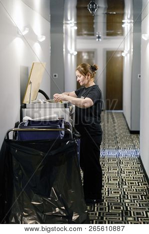 Cleaners Trolley With Cleaning Equipments At Hotel. Cleaning Cart With Cleaning Equipment At The Hot