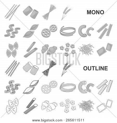 Types Of Pasta Monochrom Icons In Set Collection For Design. Figured Macaroni For Eating Vector Symb