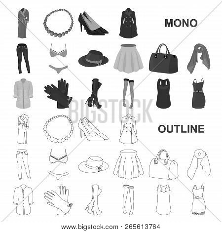 Women Clothing Monochrom Icons In Set Collection For Design.clothing Varieties And Accessories Vecto