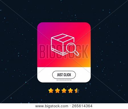 Search Package Line Icon. Delivery Box Sign. Parcel Tracking Symbol. Web Or Internet Line Icon Desig