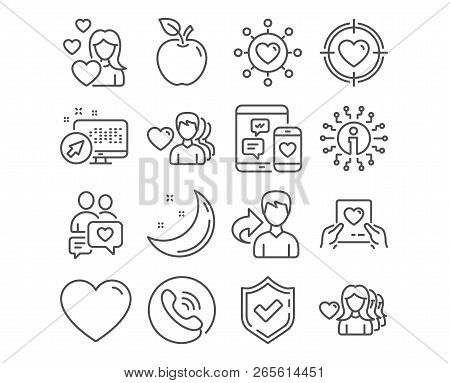 Set Of Love, Valentine Target And Dating Network Icons. Dating Chat, Love Mail And Heart Signs. Soci