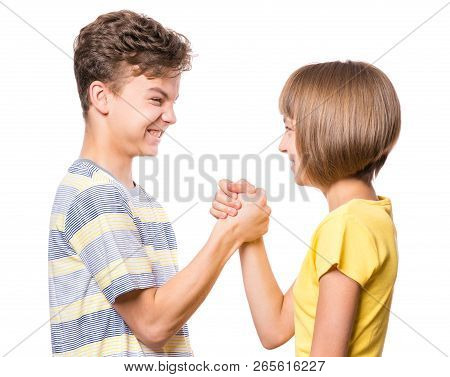 Friendship Teen Boy And Girl. Portrait Of Happy Brother And Sister, Isolated On White Background. Fu