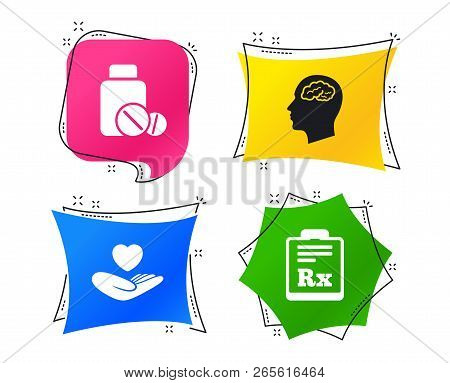 Medicine Icons. Medical Tablets Bottle, Head With Brain, Prescription Rx Signs. Pharmacy Or Medicine