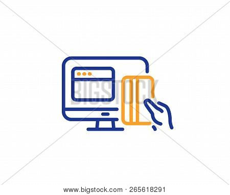 Online Payment Methods Line Icon. Web Money Sign. Credit Card Symbol. Colorful Outline Concept. Blue