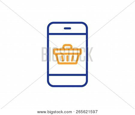 Mobile Shopping Cart Line Icon. Smartphone Online Buying Sign. Supermarket Basket Symbol. Colorful O