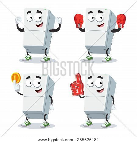 Set Of Cartoon Two Compartment Refrigerator Character Mascot