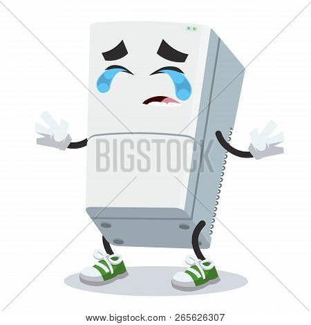 Crying Cartoon Two Compartment Refrigerator Mascot Isolated