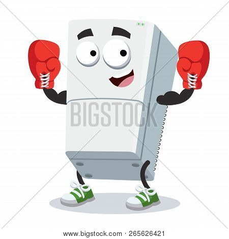Cartoon Two Compartment Refrigerator Mascot In Red Boxing Gloves
