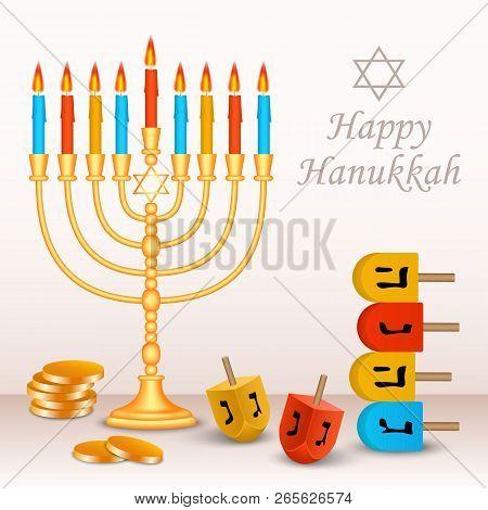 Happy Jewish Hanukkah Concept Background. Realistic Illustration Of Happy Jewish Hanukkah Vector Con