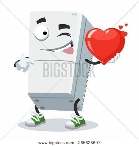 Cartoon Two Compartment Refrigerator Character Mascot Keeps The Heart
