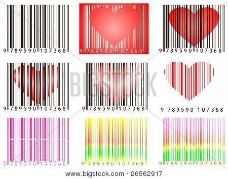 Vector images of bar codes with hearts useful for valentine's day