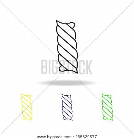 Macaroni Spiral Multicolored Outline Icons. Spaghetti Element Multicolored Outline Icons. Cuisine Si