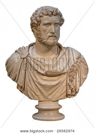 Marble bust of the roman emperor Antoninus Pius isolated on white