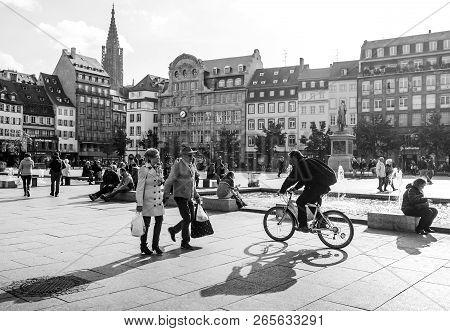 Strasbourg, France - Oct 26, 2018: Strasbourg Place Kleber On A Warm Summer Day With Hundreds Of Peo