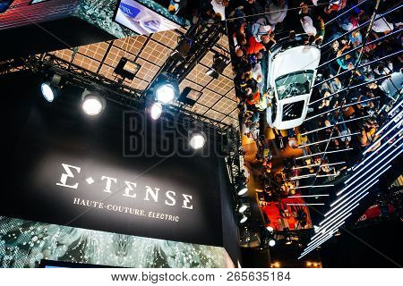 Paris, France - Oct 4, 2018: E-tense Haute-couture Electric Logo With French Citroen Ds 3 Crossback