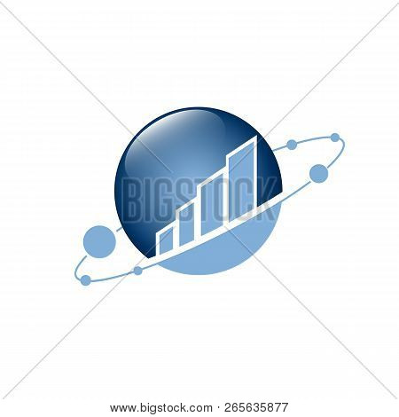 Vector Logo Concept For Accounting Or Real Estate Company. Logo Design With Commercial Building And