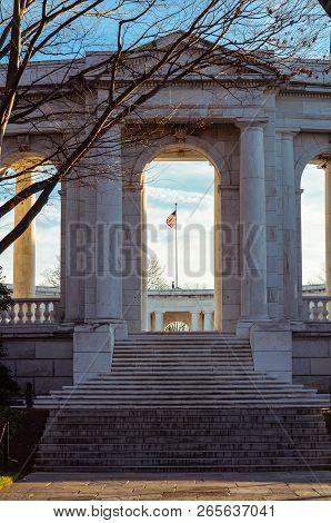 Arlington, Virginia - November 15, 2017: The Memorial Amphitheater At Arlington National Cemetery. A