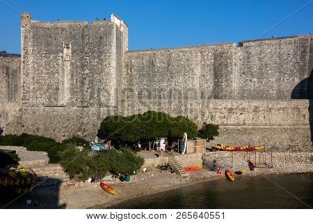 Dubrovnik, Croatia, July 31, 2018: Dubrovnik City Walls, The Finest In The World And The City Main C