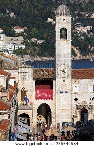 Dubrovnik, Croatia, July 31, 2018: City Bell Tower In Dubrovnik, Croatia, Originated In The Mid 15th