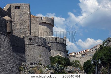Dubrovnik City Walls, The Finest In The World And The City Main Claim To Fame. The Entire Old Town W