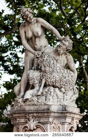 Dubrovnik, Croatia, July 31, 2018: Statues Of Satyr And Nymph Dubravka At Pile Square In Dubrovnik,
