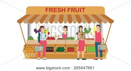 Local Farm Market Fruit Shop With Fruit Seller Stand To Sell Fruit And Customer Shopping Fresh Fruit