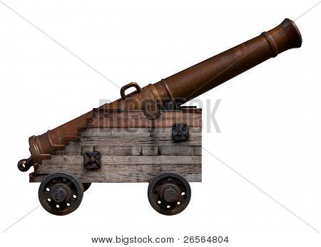 Old bronze cannon with a wooden base on a white background