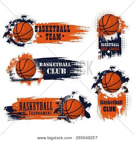 Basketball Club Icons For College League Championship Or University Players Tournament Match. Vector
