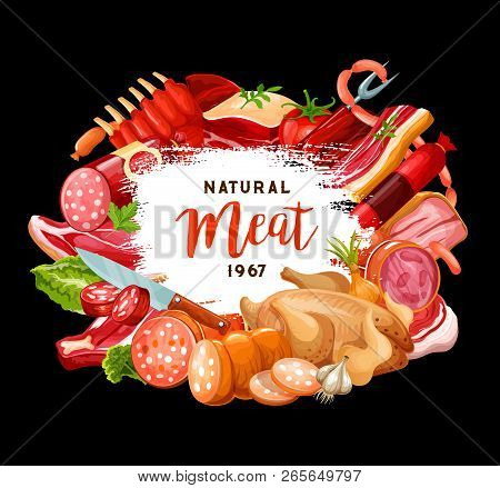 Meat Sausages Poster For Butcher Shop Or Gourmet Cooking And Restaurant Menu. Vector Meaty Delicates