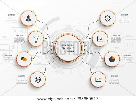 Vector Infographic Technology With 3d Paper Label, Integrated Circles. Business Concept With 8 Optio