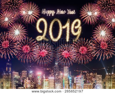 Happy New Year 2019 Firework Over Cityscape Building At Night Time Celebration,happy New Year Countd