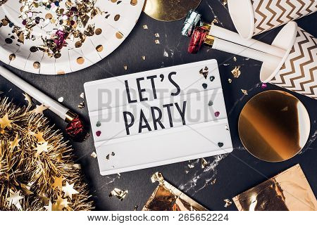 Let's Party On Light Box With Party Cup,party Blower,tinsel,confetti.fun Celebrate Holiday Party Tim