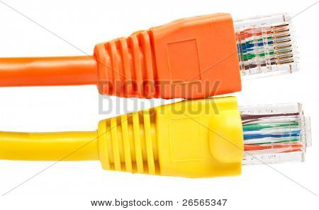 Two brightly colored network RJ45 connectors on a white background exposing the two sides of the plug