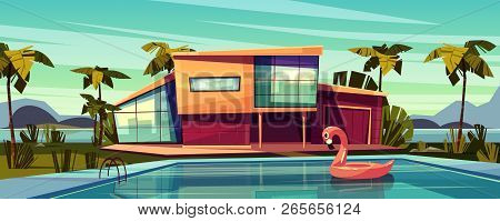 Luxury Villa On Coast, Foreign Residence In Exotic Country, Expensive Mansion In Tropics Cartoon Vec
