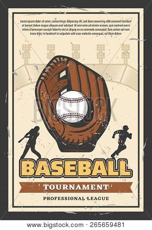 Baseball Sport League Championship Retro Poster For Professional Team Tournament. Vector Vintage Des